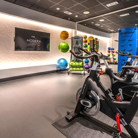 Spin studio with medicine balls and yoga mats