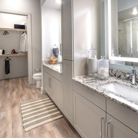 Stunning bathrooms with walk-in showers, double vanities, backlit mirrors and built in shelving