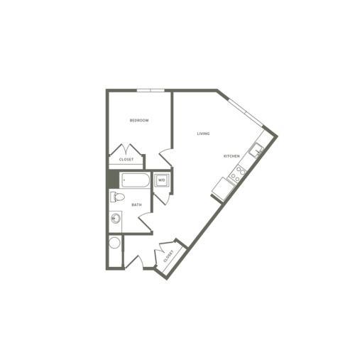 620 square foot one bedroom one bath studio apartment floorplan image