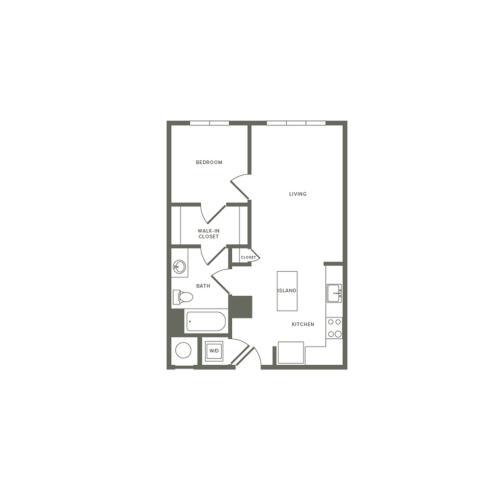 609 square foot one bedroom one bath studio apartment floorplan image