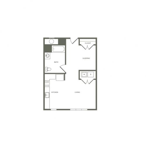 609 square foot one bedroom one bath studio apartment floorplan image