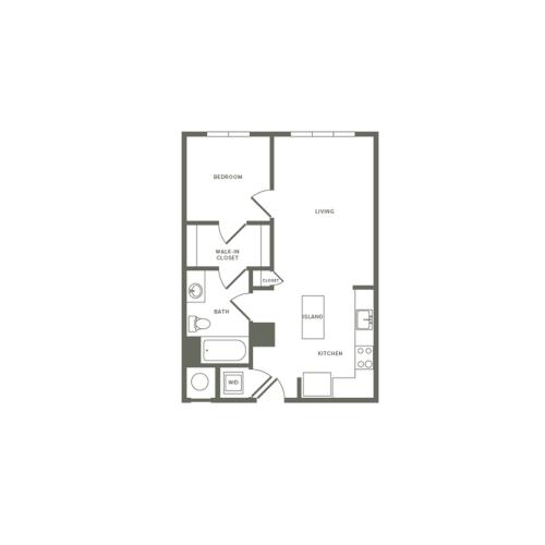 609 square foot Affordable one bedroom one bath studio apartment floorplan image