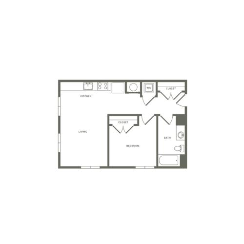 664 square foot one bedroom one bath apartment floorplan image