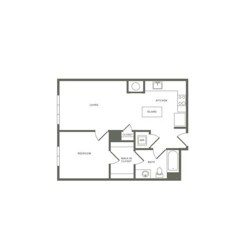 702 square foot one bedroom one bath apartment floorplan image