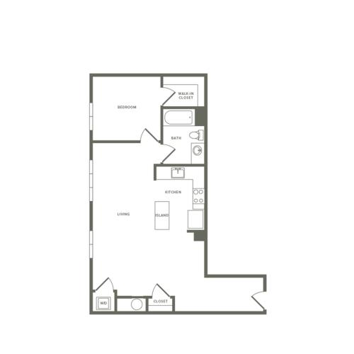 792 square foot one bedroom one bath apartment floorplan image