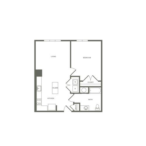 783 square foot one bedroom one bath apartment floorplan image