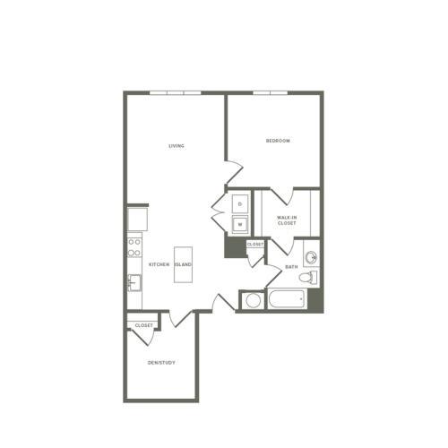 863 square foot one bedroom one bath den apartment floorplan image