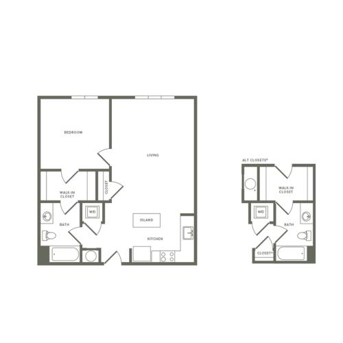 783 to 797 square foot Affordable  one bedroom one bath apartment floorplan image