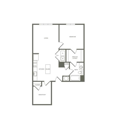 930 square foot Affordable one bedroom one bath with den apartment floorplan image