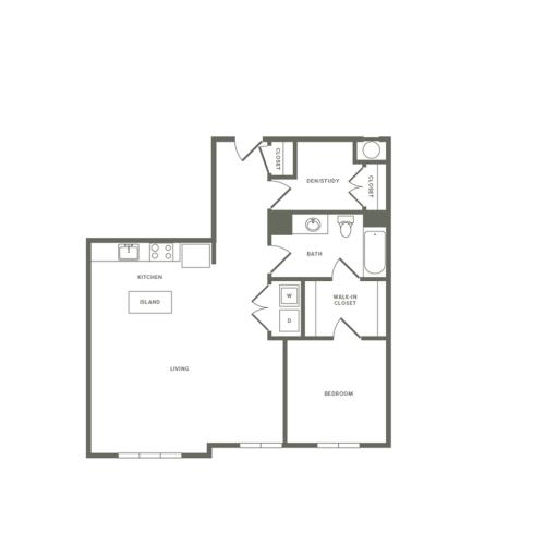 908 square foot Affordable one bedroom one bath with den apartment floorplan image