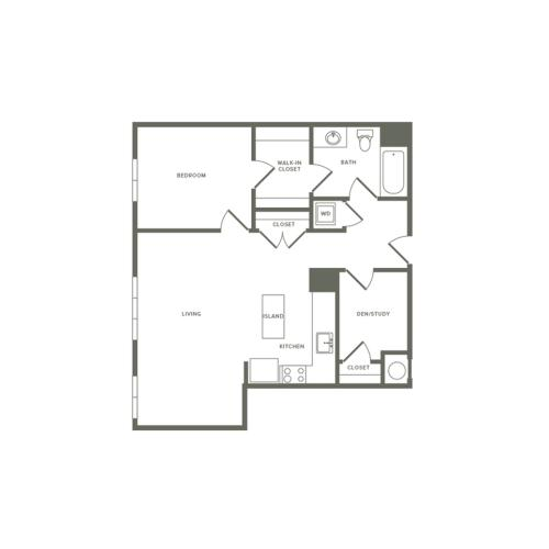 883 square foot Affordable one bedroom one bath with den apartment floorplan image
