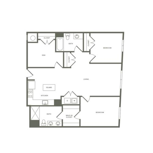 1297 square foot two bedroom two bath with den apartment floorplan image