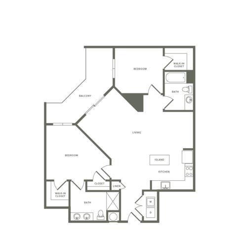 1143 square foot two bedroom two bath apartment floorplan image