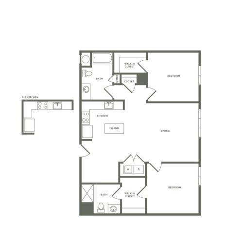 994 to 1158 square foot two bedroom two bath apartment floorplan image