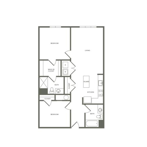 1054 square foot Affordable one bedroom one bath with den apartment floorplan image
