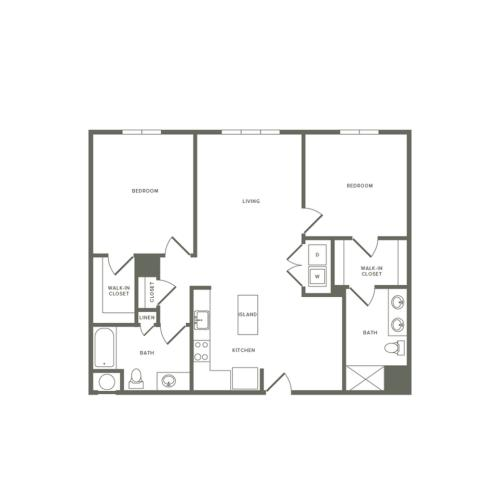 1161 square foot Affordable two bedroom two bath apartment floorplan image