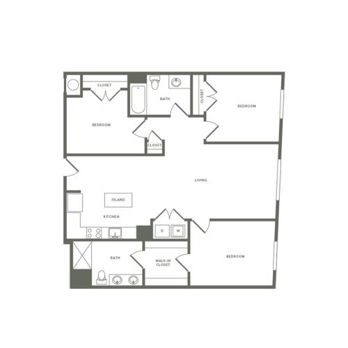 1302 square foot three bedroom two bath with L Shape kitchen apartment floorplan image