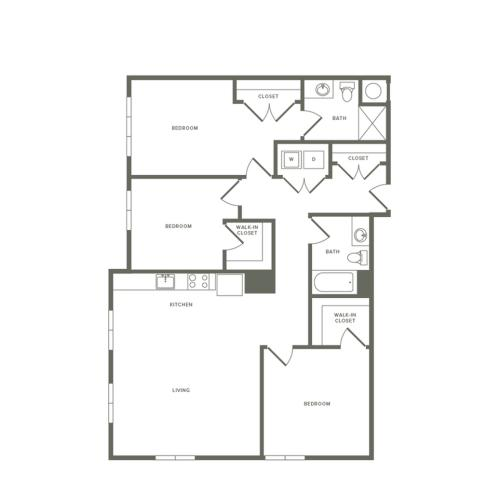 1366 square foot three bedroom two bath apartment floorplan image