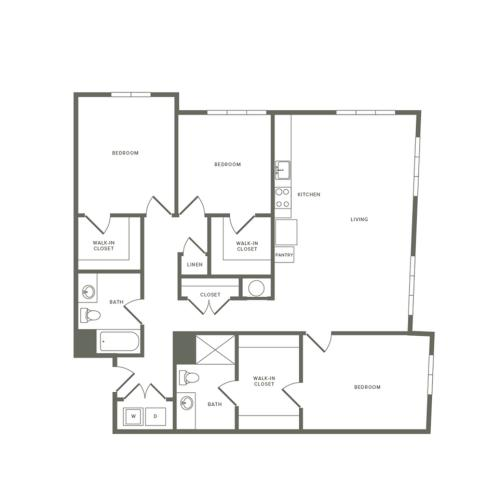 1504 square foot three bedroom two bath apartment floorplan image