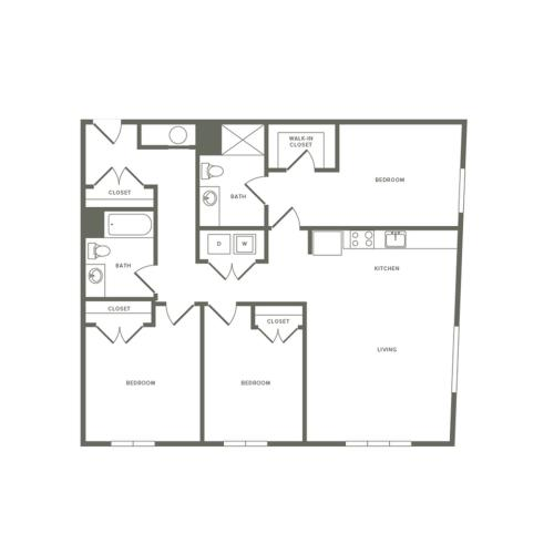 1361 square foot three bedroom two bath apartment floorplan image