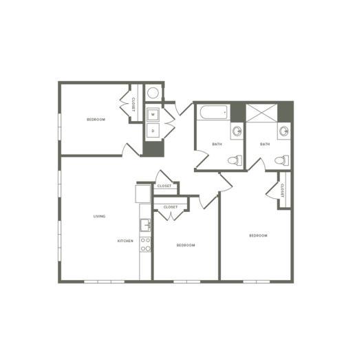 1302 square foot three bedroom two bath apartment floorplan image