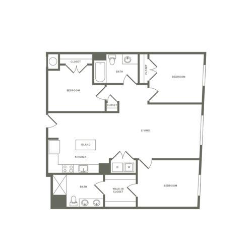 1294 square foot Affordable three bedroom two bath apartment floorplan image
