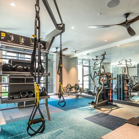 Expansive fitness center with TRX system