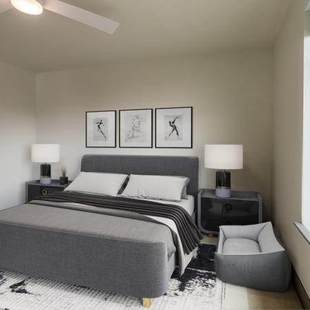 Spacious carpeted bedrooms with large windows and pass through to the bathroom and walk-in closet
