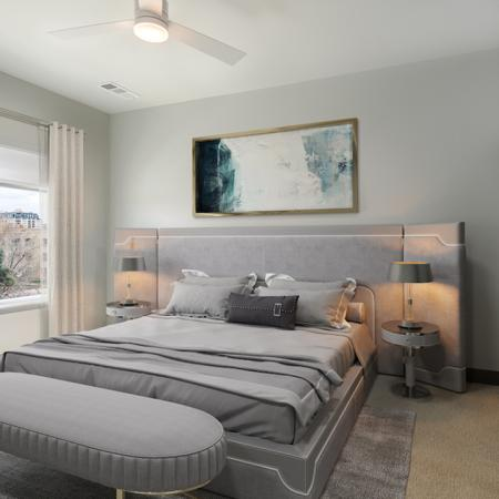 Large grey bedrooms with closet space