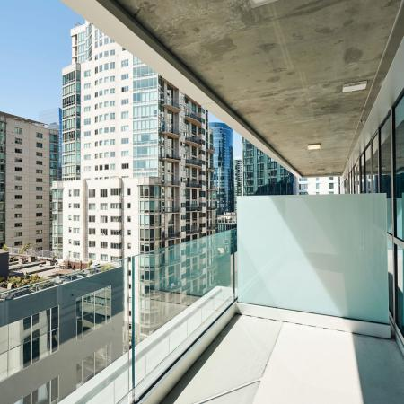 Private balcony with amazing downtown San Francisco views at Modera Rincon Hill apartments.