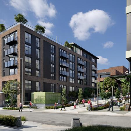 Exterior rendering of building from street view near Modera Broadway apartments in Seattle.