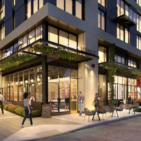 Exterior rendering of retail space  near Modera Broadway apartments in Seattle.