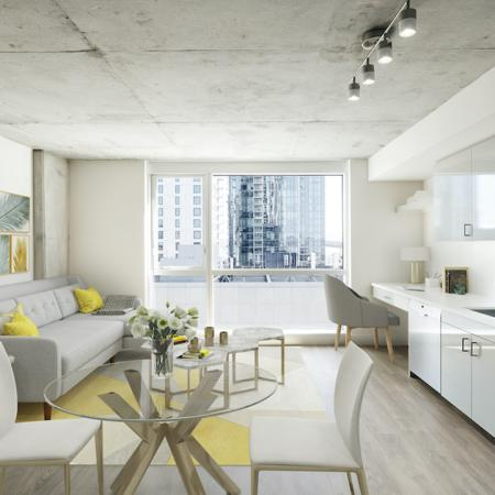 Light-filled homes with stunning downtown views, gas cooking and built-in workspaces at Modera Rincon Hill apartments.
