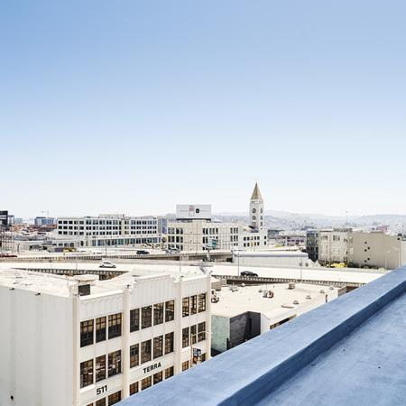 A sunny day on the roof facing the hills at Modera Rincon Hill.