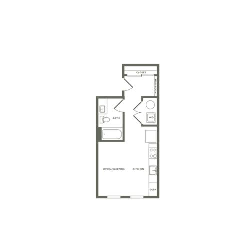 459 square foot studio one bath floor plan image