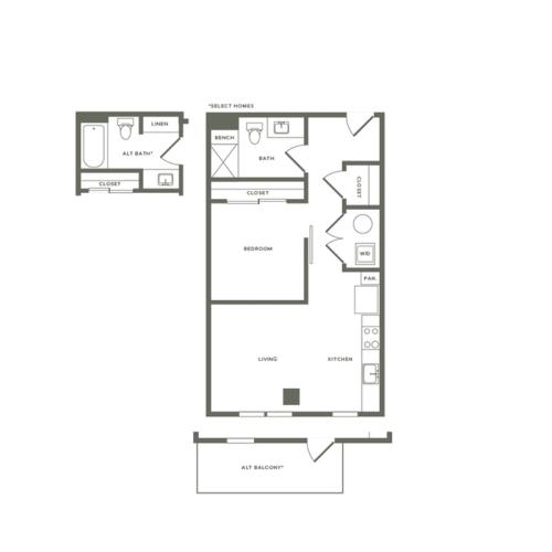 689 to 781 square foot one bedroom one bath apartment floorplan image