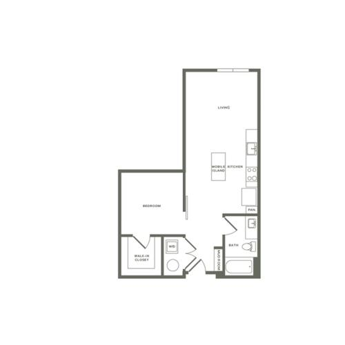 725 square foot one bedroom one bath apartment floorplan image