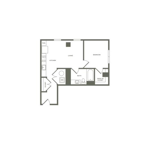 652 square foot one bedroom one bath apartment floorplan image