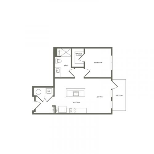 736 square foot one bedroom one bath apartment floorplan image