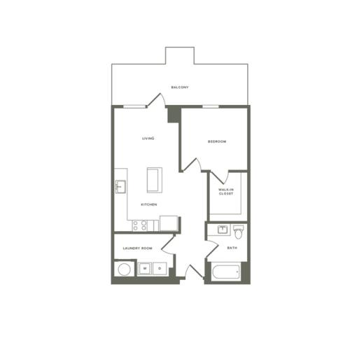 779 square foot one bedroom one bath apartment floorplan image