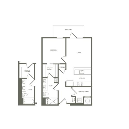 790 to 815 square foot one bedroom one bath apartment floorplan image
