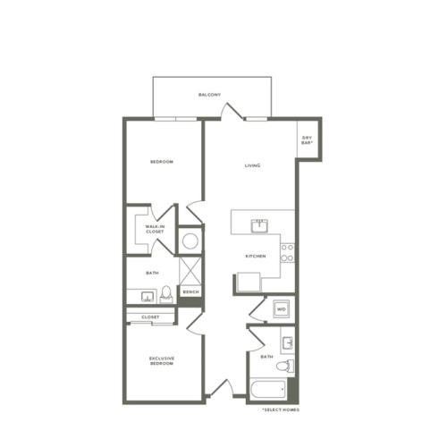 960 to 980 square foot two bedroom two bath apartment floorplan image