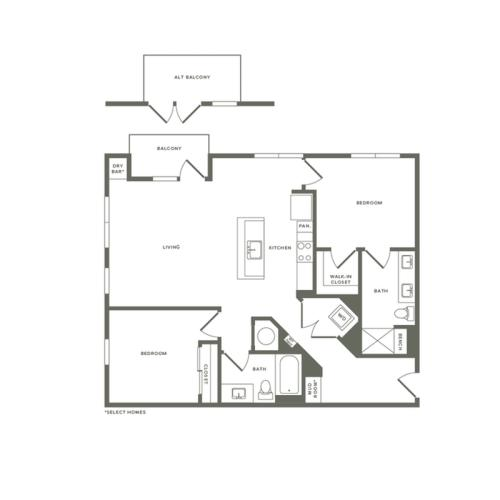 1156 to 1210 square foot two bedroom two bath apartment floorplan image