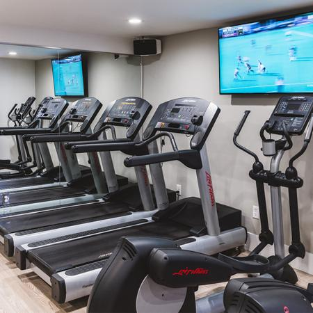 New treadmills and elliptical machines in upgraded gym with flatscreen TV on wall