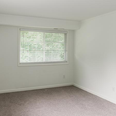 Spacious bedroom with two windows and new beige carpet