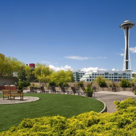 View of Space Needle in Seattle from elevated garden
