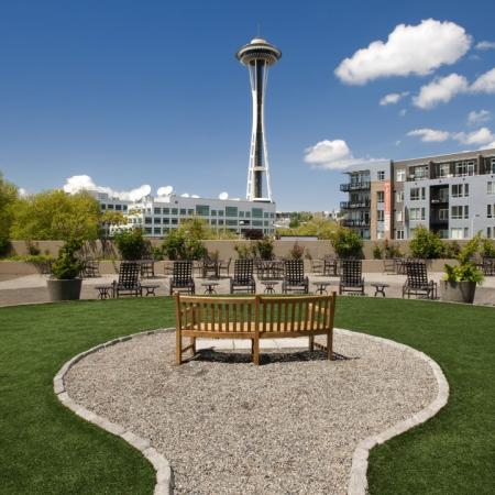 View of Seattle's Space Needle from rooftop garden