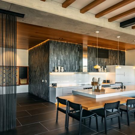 Clubroom with dining areas and gathering spaces