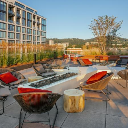 Resort-style seating with firepit and lounge areas