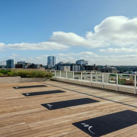 Serene rooftop Yoga area with Portland views
